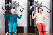 Front View Of Old Women Exercising