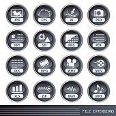 Conjunto de iconos de extensiones de archivos