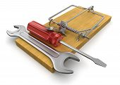 Mousetrap and Tools  (clipping path included)