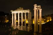 stock photo of saturn  - Temple of Saturn and Vespasian at night Rome Italy - JPG