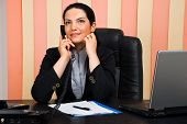 Business Woman Coversation By Telephone