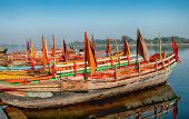 boats on the River Yamuna in Vrindavan