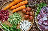 stock photo of raw materials  - Vietnamese food vegetable soup fresh ingredients - JPG