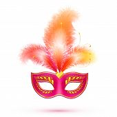 Red isolated carnival mask with feathers