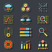 Data Analytic Web Site Server Icons  on Stylish Background Flat Design Template Vector Illustration