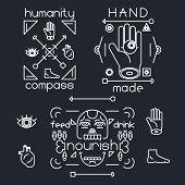Handmade Line Arrow Head Bone Hunger Eye Foot Heart Logo Symbol Hands Icon Stylish Background Vector