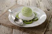 Kiwi Ice Cream On Meringue