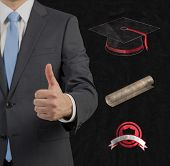 Graduate Giving Thumbs Up