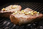 barbecue grilled steak with garlic