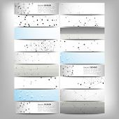 Big banners set, science backgrounds, molecule and communication backgrounds. Conceptual vector desi