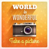 picture of wonderful  - Retro photo camera poster with world is wonderful text vector illustration - JPG