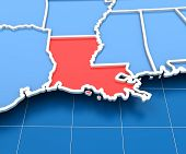 foto of state shapes  - 3d render of USA map with Louisiana state highlighted in red - JPG
