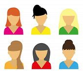 stock photo of teen pony tail  - Business icons young beautiful women vector illustration - JPG