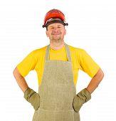 Worker wearing apron.