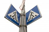 pedestrian cross warning traffic sign