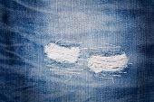 Detail Of Torn Blue Denim