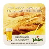 NETHERLANDS - DELFT - CIRCA JANUARY 2015: Beer coaster for advertising for Grolsch volmout.