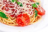 Spaghetti with tomato basil and cheese