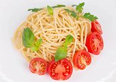 Pasta with tomato sauce and basil.