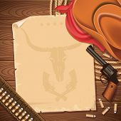 Wild West Background With Cowboy Hat And Revolver