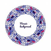 Abstract Round Mosaic Colorful Frame Of Doodle Element