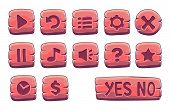 Set Of Red Wooden Square Buttons, Vector Game Icons