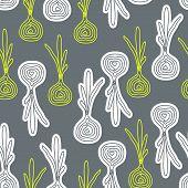 Cute Decorative Doodle Onions Seamless Pattern.