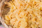 Candied Crystallized Ginger Slices In Wicker Bowl