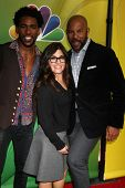 LOS ANGELES - JAN 16:  Brandon Smith, Rebecca Corry, Chris WIlliams at the NBCUniversal TCA Press Tour at the Huntington Langham Hotel on January 16, 2015 in Pasadena, CA