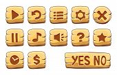 Set Of Gold Square Buttons, Vector Game Icons