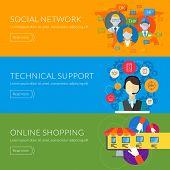 Flat design concept for technical support, social network, online shopping. Vector illustration for