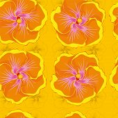 seamless yellow background with orange hibiscus flowers.