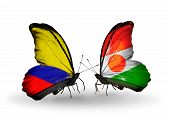 Two Butterflies With Flags On Wings As Symbol Of Relations Columbia And Niger