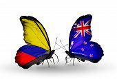 Two Butterflies With Flags On Wings As Symbol Of Relations Columbia And New Zealand