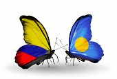 Two Butterflies With Flags On Wings As Symbol Of Relations Columbia And Palau