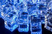 Ice in blue light