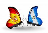 Two Butterflies With Flags On Wings As Symbol Of Relations Spain And Guatemala