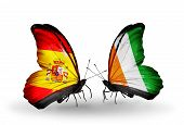 Two Butterflies With Flags On Wings As Symbol Of Relations Spain And Cote Divoire