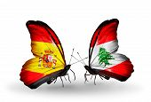 Two Butterflies With Flags On Wings As Symbol Of Relations Spain And Lebanon