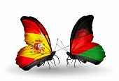 Two Butterflies With Flags On Wings As Symbol Of Relations Spain And Malawi