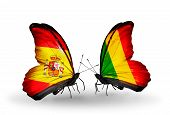 Two Butterflies With Flags On Wings As Symbol Of Relations Spain And Mali