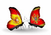 pic of spanish money  - Two butterflies with flags on wings as symbol of relations Spain and Montenegro - JPG