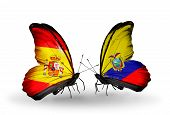 stock photo of spanish money  - Two butterflies with flags on wings as symbol of relations Spain and Ecuador - JPG