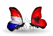 Two Butterflies With Flags On Wings As Symbol Of Relations Holland And Albania