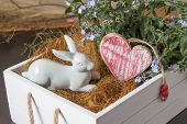 White Rabbit And Heart In A Flower Box
