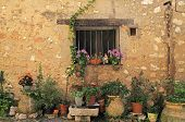 image of stone house  - window in stone medieval village rural house with many flower pots - JPG
