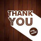 stock photo of politeness  - Thank you card with typography on a wooden background - JPG
