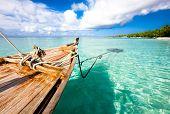 Boat on the water, Indian ocean. Kuramathi island
