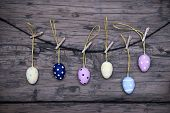 Many Easter Eggs Hanging On Line With Frame