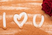 Romantic message written with chocolate powder
